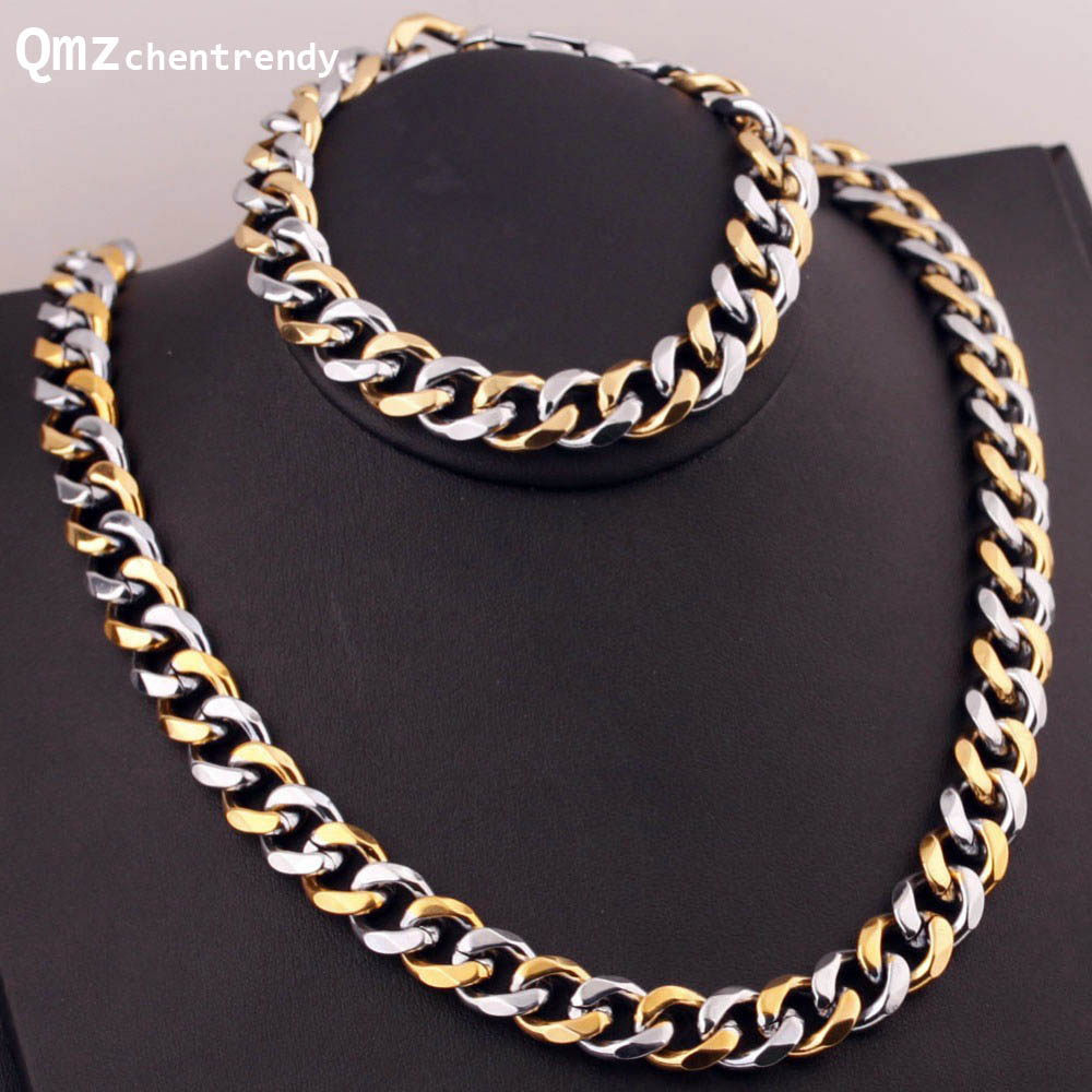 Stainless Steel Men Women Punk Gold Steel Cuban Chain Necklace Bracelets Fine Statement Jewelry Sets For gift 12mm 60cm