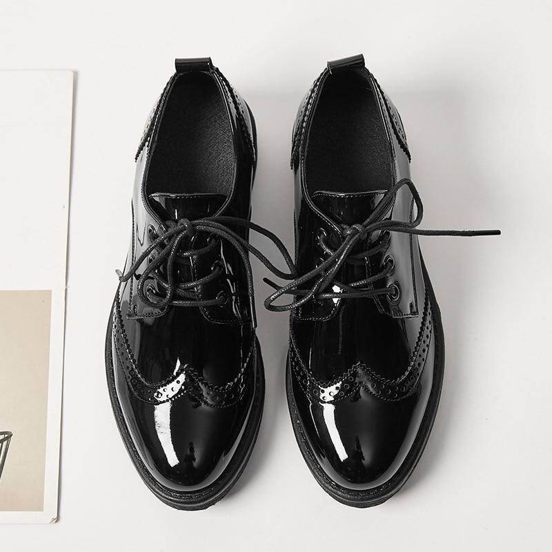 Redonda Martin Viento Nuevo Tacón Bajo 18 Zapatos De Las Cabeza Mujeres Brock Casual Charol Británico 8x1Rgqp