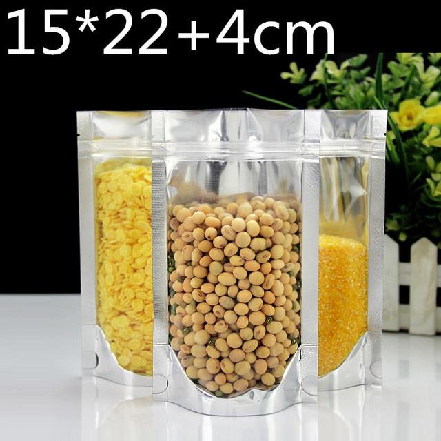 Stand up 15x22 + 4 cm De Plástico Transparente Pacote de Embalagem Da Folha de Alumínio Mylar Bag Auto Vedação Zip ZIpper Saco de Embalagem de bloqueio