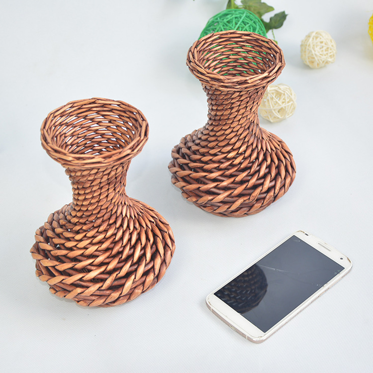 Plastic Rattan Wicker Vase Wedding Decoration Home Office Bedroom Holding Candy Free Shipping 5z Hd013