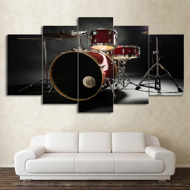 Modern Canvas Living Room 5 Panel Music Drum Instrument Frame Home Decor  Print Picture Painting Wall Art Poster Abstract Artwork