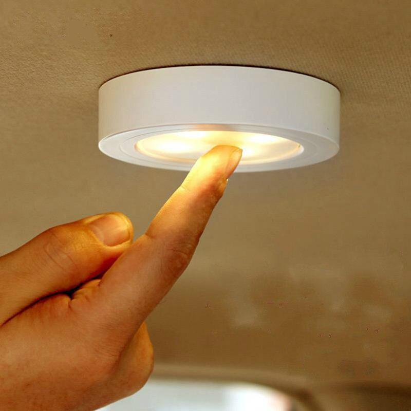 2 peças/lote Mini Toque interruptor de Luz De Teto de parede Alimentado Por Bateria Lâmpada Da Varanda Armário de Cabeceira Corredor Lâmpada de Parede Da Novidade