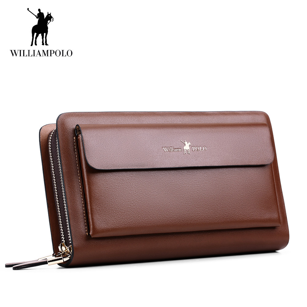 Brand Double Zipper Money Clip Wallet Clutch Bag Men's Purses Genuine Leather Male Long Wallets Luxury Cow Leather Man Purse luxury brand vintage handmade genuine vegetable tanned cow leather men women long zipper wallet purse wallets clutch bag for man