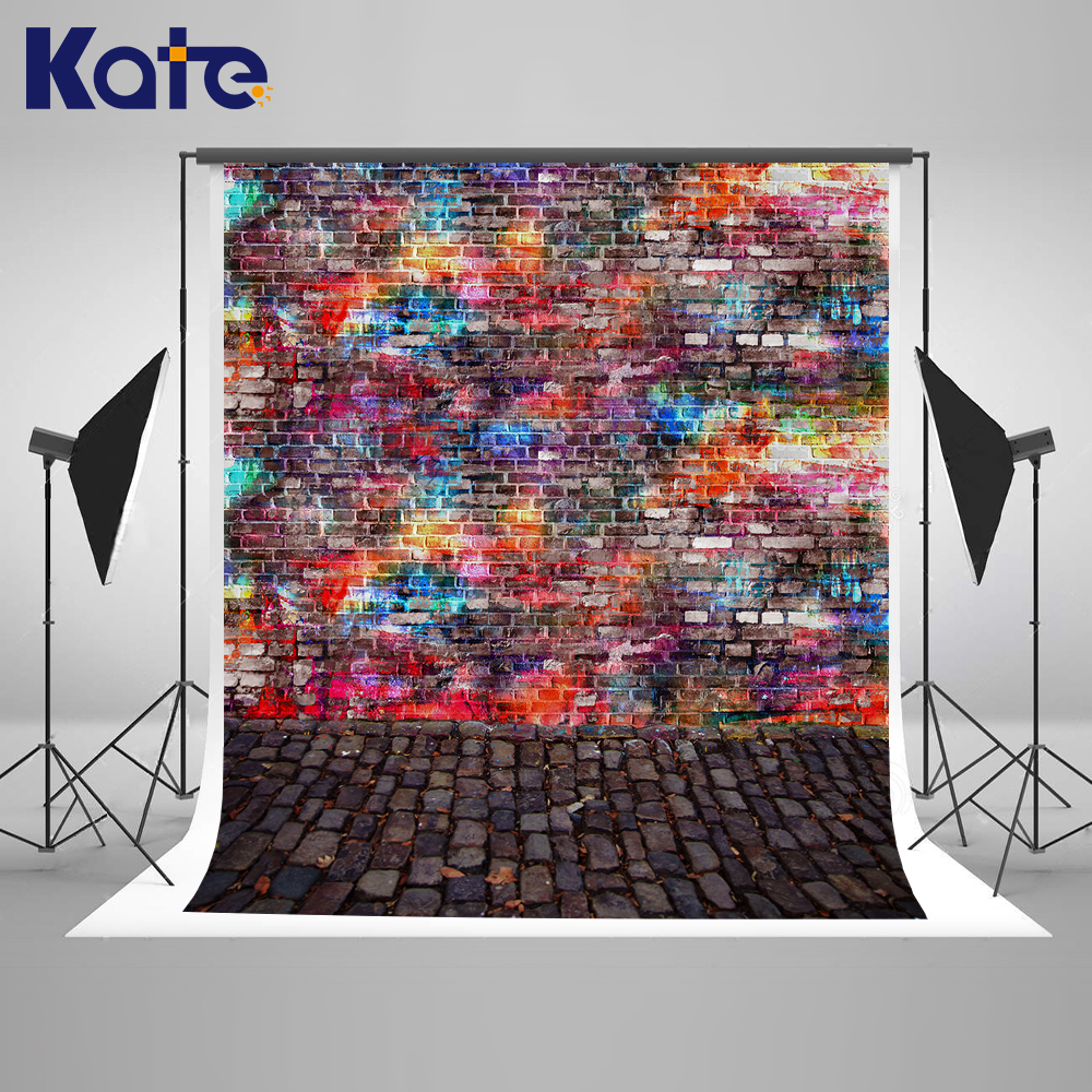Kate Photo Background Newborn Backdrop Vintage Abstract Graffiti Brick Wall Background Color Texture Floor Background for Studio