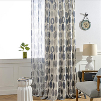 GIGIZAZA Circle World Print Cotton Blinds Shading Window Curtains High Quality Black Out Red Color Luxurious