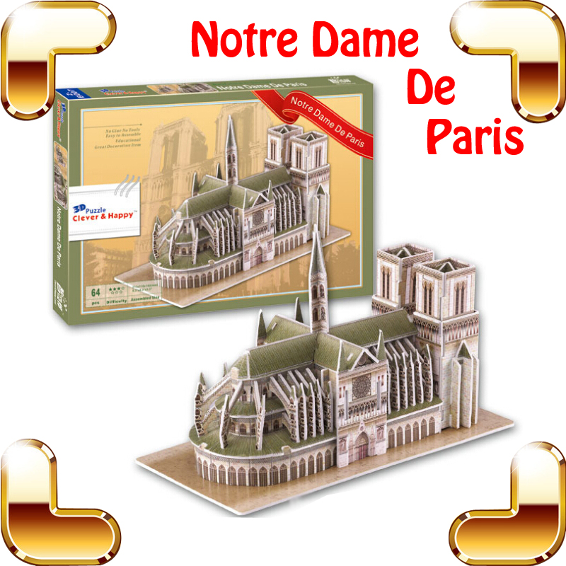 New Year Gift Notre Dame Cathedral 3D Puzzle Paris Gothic Architecture Famous Structure Model Building Toy Kids Easy DIY