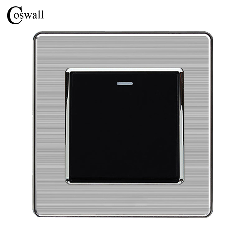 Coswall Manufacturer 1 Gang 2 Way Push Button Wall Light Switch Stainless Steel Panel AC 110~250V