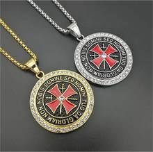 Colliers avec pendentif croix, chevaliers, templiers, Vintage, en zircone cubique, Ordre du Temple pour hommes, bijoux Hip hop, cadeaux