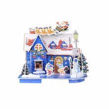 2017 Christmas Cartoon Mini 3D House For Home Festival Shop Decorations DIY Resin EPS Cottage Puzzle Christmas Decorative Cabin(China)