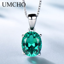 UMCHO Oval Cut Green Emerald Engagement Pendants Necklaces for Women Halo May Birthstone Jewelry Dainty Bridal Wedding Pendant