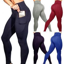 Штаны для йоги с карманами S-XL Для женщин спортивные Леггинсы Бег тренировки Запуск леггинсы стрейч высокие эластичные спортивные колготки