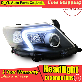 D_YL Car Styling for Toyota Fortuner Headlights 2011-2015 Fortuner LED Headlight DRL Lens Double Beam H7 HID Xenon bi xenon lens