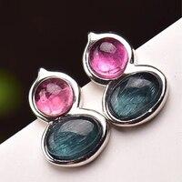 Dropshipping Tourmaline Natural Stone Earrings Color Stone Stud Earrings 925 Silver Mosaic Earwear For Women Fashion Jewelry