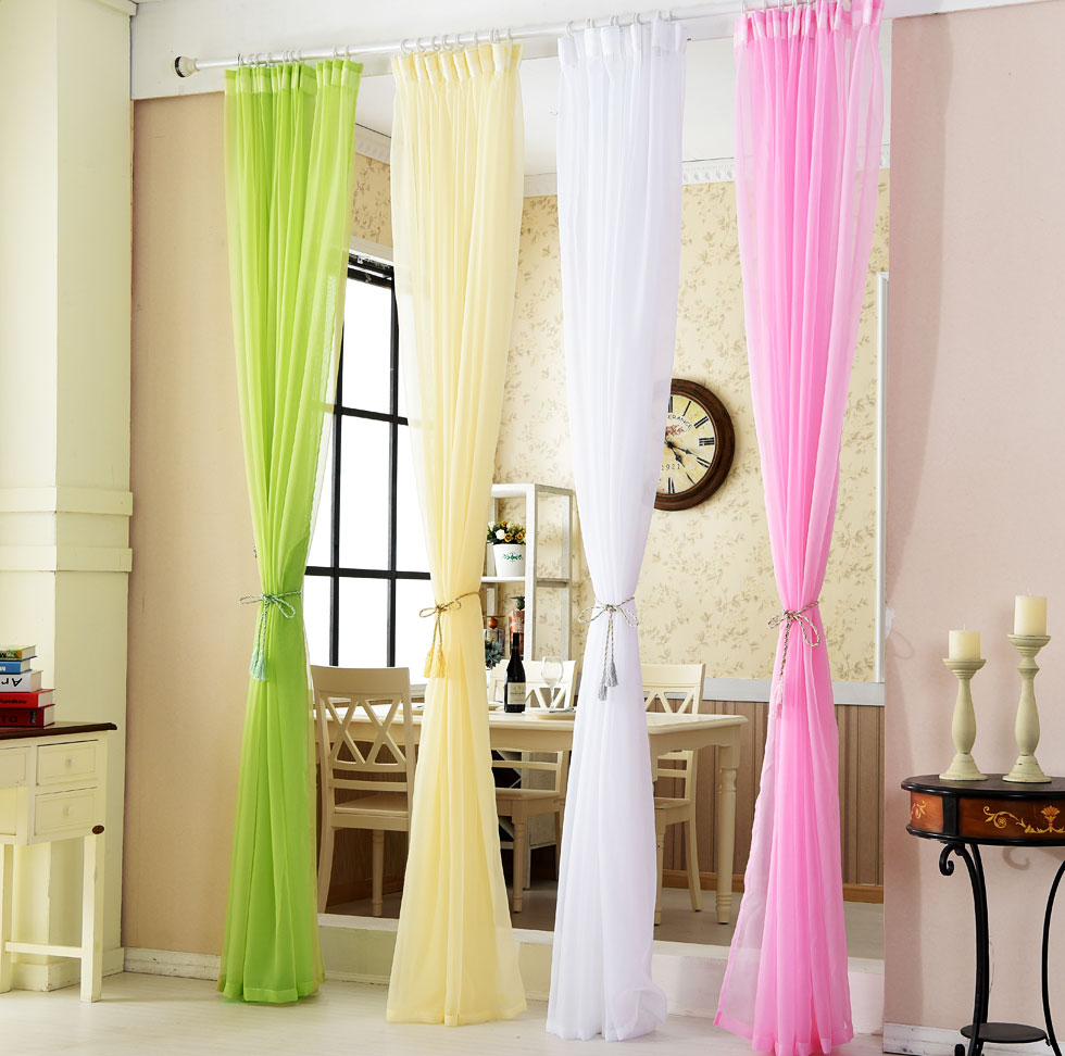 Sheer yellow curtains - Sheer Yellow Curtains Modern And Simple Style Solid Color Voile Curtains Decorative Sheer Curtains Finished
