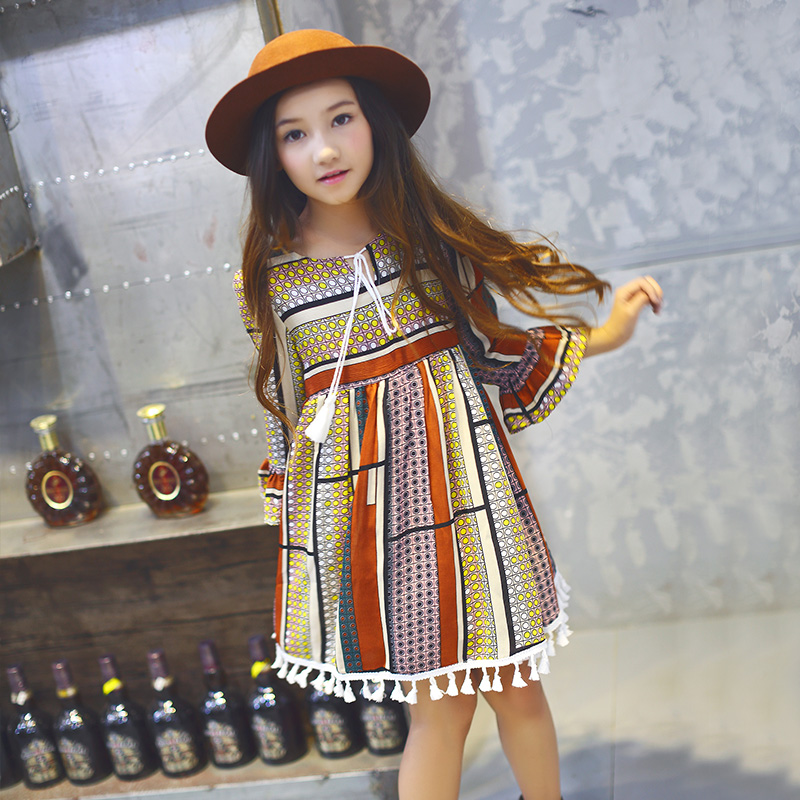 School Bohemian Fashion Teens Girls Dress Tassel Hem Party Dresses For 5 6 7 8 9