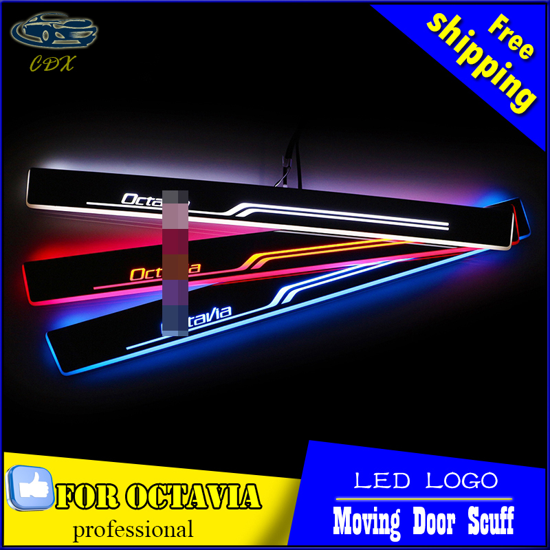 Car Styling Welcome pedal Door Sills Moving Scuff Plate Light Panel LED Light Dynamic Rubbing Strip For Skoda Octavia 2014-2016