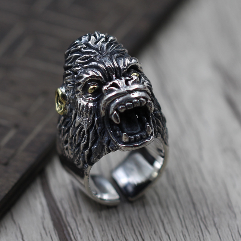 S925 Sterling Silver Jewelry Thai Silver men's Domineering Ring Retro Personality Monkey Apes Rise Ring s925 sterling silver vintage six buddhist mantra rotating personality ring ring and old thai silver jewelry