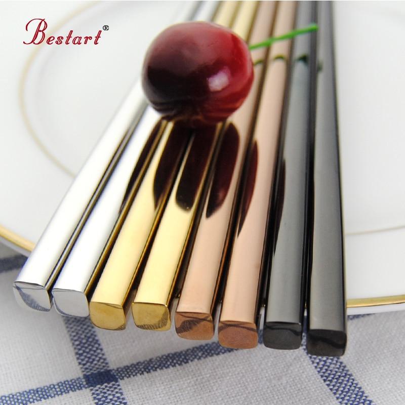 5pairs Yapon Chopsticks hashi Qara 304 Paslanmayan Polad - Mətbəx, yemək otağı və barı - Fotoqrafiya 3