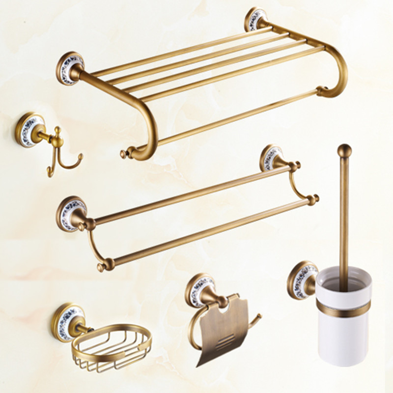 Antique brass ceramic bathroom hardware sets wall mounted - Wall mounted ceramic bathroom accessories ...