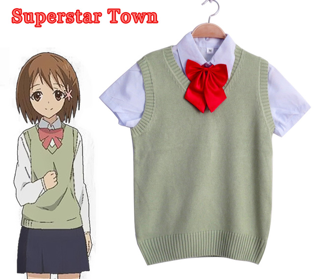 School Student Sweater Cosplay Japanese Style Anime Uniform Sailor Sleeveless V Neck Sweaters Costumes Students Clothes
