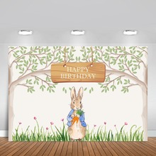 Cartoon Peter Rabbit Tree Photography Backdrop For Children Baby Shower 1st Birthday Party Backgrounds Photo Both Vinyl Custom