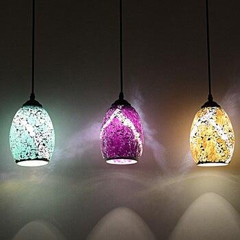 Light Glass Pendant Lights Style Country Balcony Bar Mosaic Light Food Drink Color Glass Lighting Pendant Lamps DF138