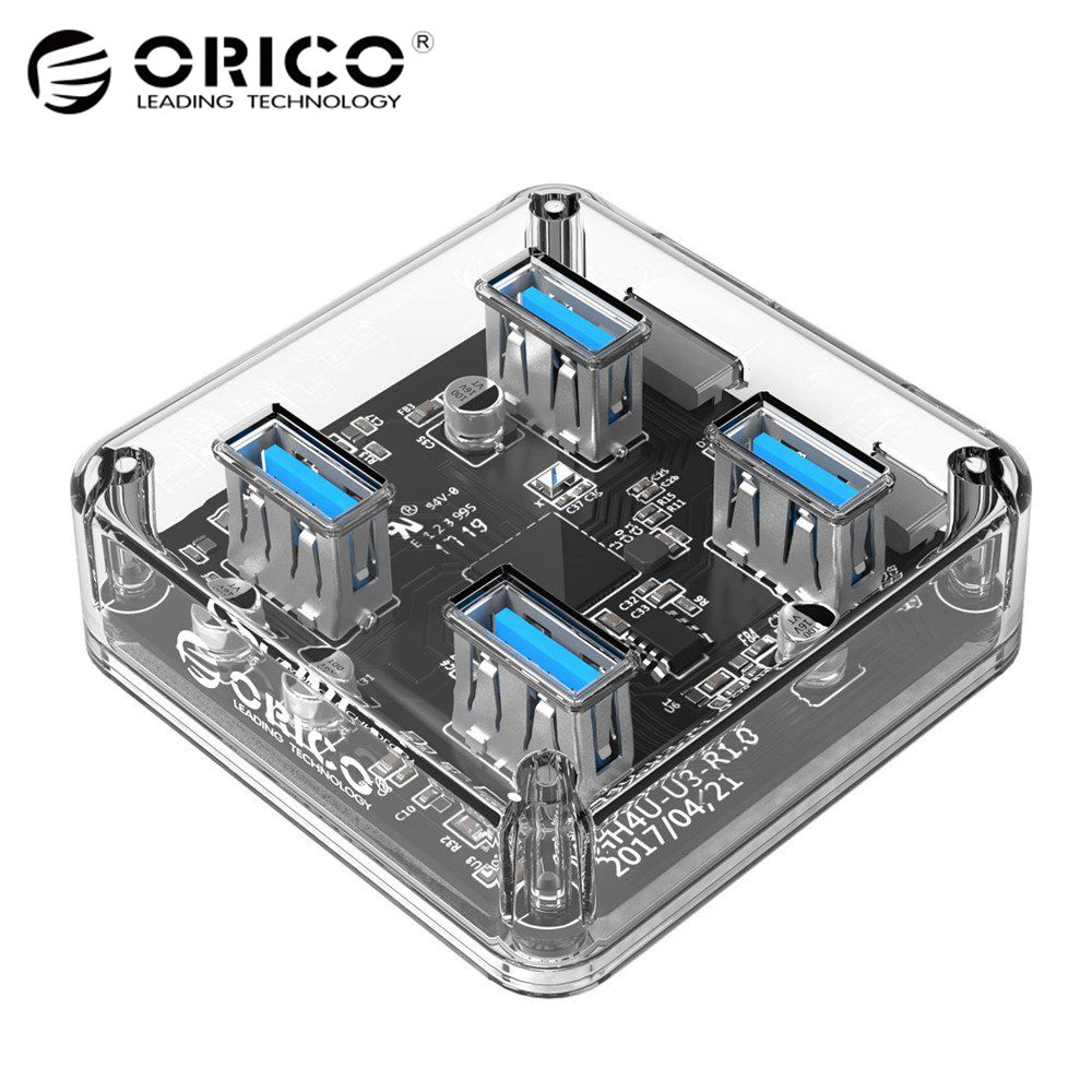 ORICO Transparent 4 Ports USB 3.0 HUB for Desktop / Laptop with 30 / 100 CM Data Cable Support External Micro USB Power Supply power bar style usb 2 0 4 port hub 50 cm cable
