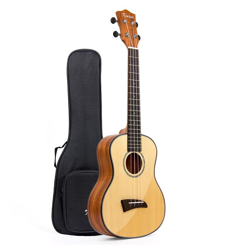 Solid Tenor Ukulele Solid Spruce Clear Gloss Ukelele 26 inch 18 Frets 4 String Hawaii Guitar Mahogany Back Bone Saddle Gig Bag