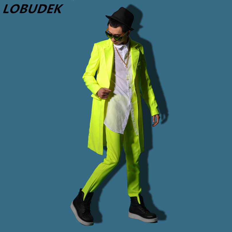 Male costume yellow long jacket outwear coat slim star show for singer dancer performance nightclub bar groom men bar fashion