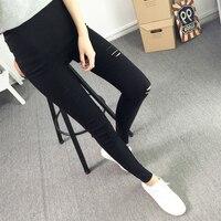 Printemps Et Automne Nouvelles Femmes De Mode Trou Mince Slim Stretch pantalon Neuf Crayon Pantalon Leggings Plus La Taille 2XL Européen Femelle Pop