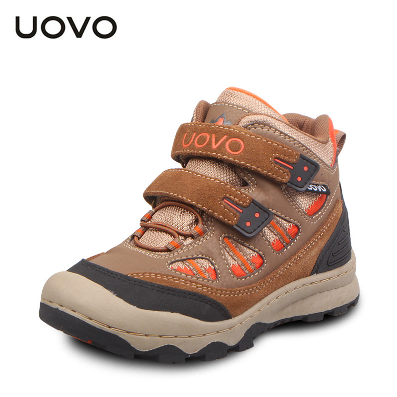 UOVO Outdoor Children Shoes Boys Sport Shoes Waterproof Shoes for Little Big Kids Brown Eu 31-35