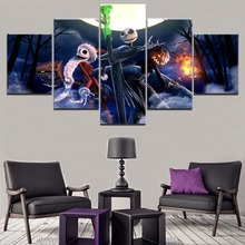 5 Pieces Canvas Printed Movie The Nightmare Before Christmas Painting Modern Artwork Home Decor Living Room Wall Art Pictures