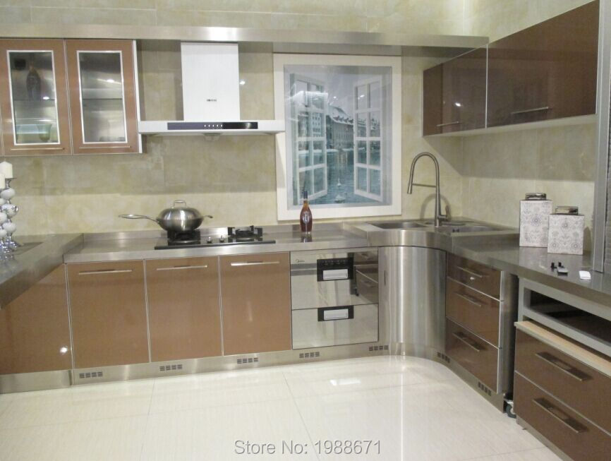 Glass metal kitchen cabinet doors stainless steel kitchen for Stainless steel kitchen cabinet price