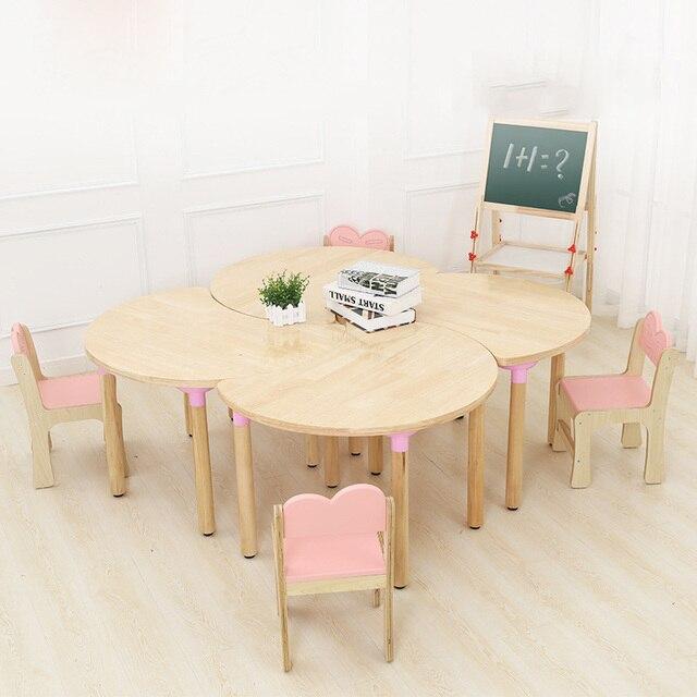 Environmentally Friendly Solid Wood Kindergarten Log Desk Chair Primary School Childrens Study Table Set