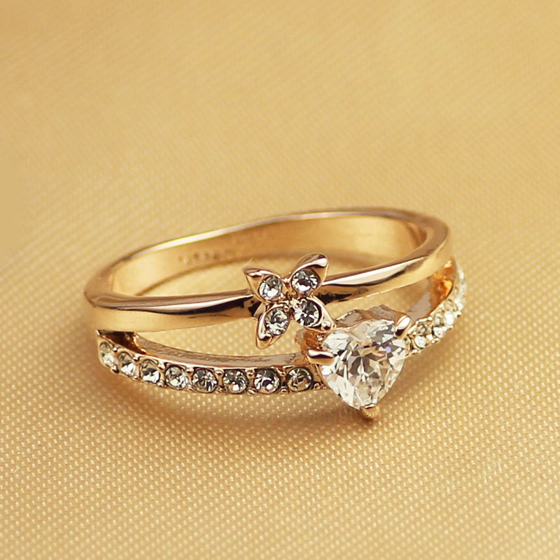 DCM Free Shipping fashion Jewelry Cubic Zirconia Heart Ring Rose Gold Color A