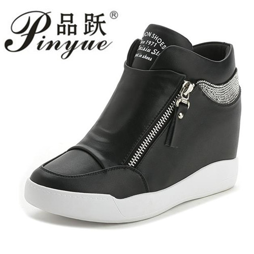 Black White Hidden Wedge Heels Fashion Lace-up Womens Elevator Shoes Casual Shoes For Women wedge heel Rhinestone Hot Sale