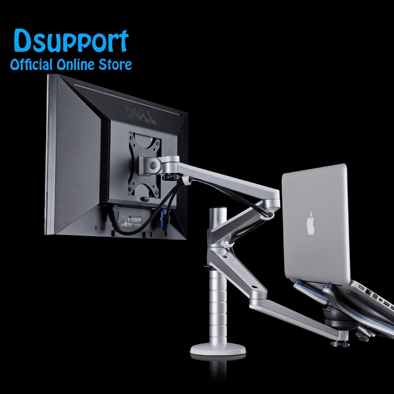 Multimedia Desktop Dual Arm 25 inch Monior Holder Laptop Holder Stand Table Full Motion Dual Monitor
