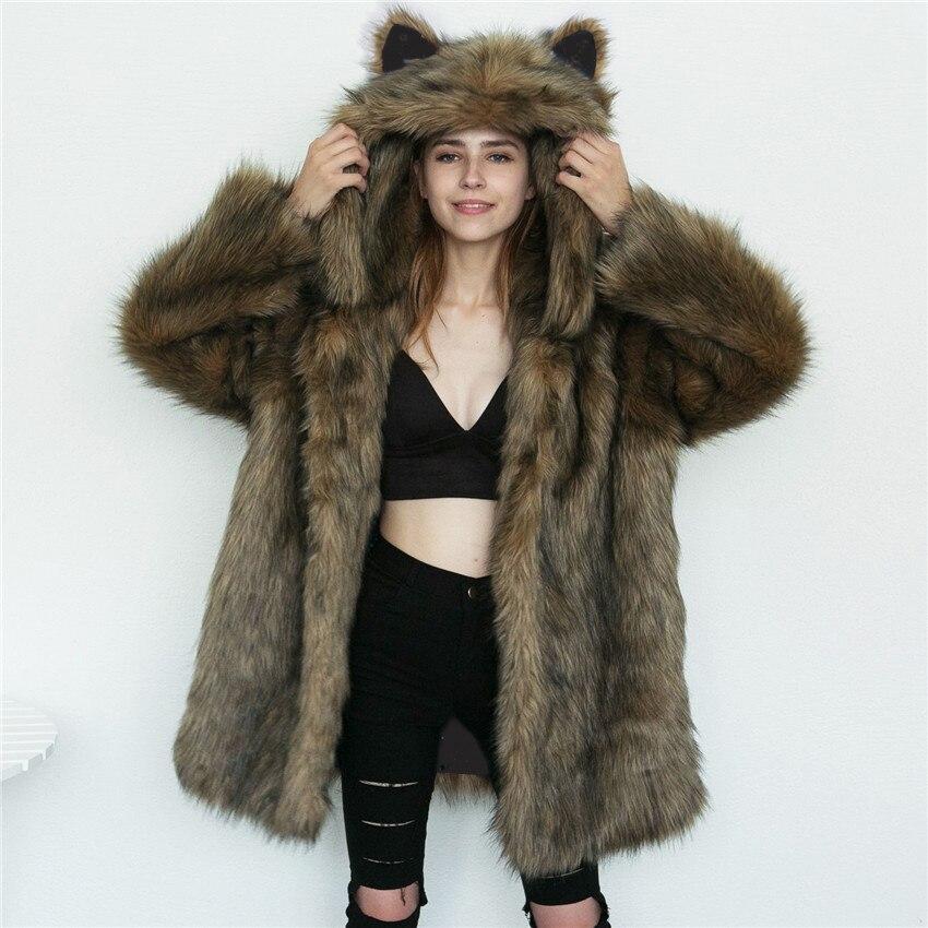Lanshifei T0729 Thick Fake Fur Warm Coat Wholesale Cat Ears Faux Fur Parka Winter Warm Fur Jacket China Manufacture Faux FurCoat