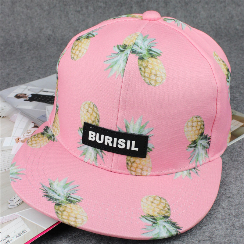 82155b9005055 Summer 2018 Women New Pineapple Embroidered Baseball Cap Flat Brim Snapback  Mujer Funny Fruit Men Dad Hiphop Caps Hat Hot