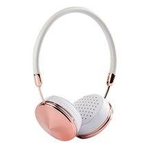 Fone Auriculares con Micrófono de diadema Con Cable de Oro Rosa de Cuero Blanco de ouvido auricular del en-oído para iphone 6 6 s samsung blanou BH868