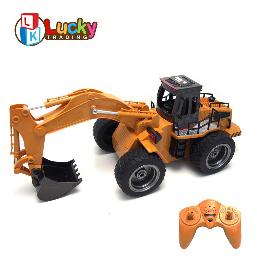 Long Time Playing 1/18 Radio Control Engineering Metal RC Excavator Toy with 6 Channels Remote Control Excavator