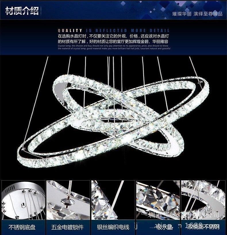ファッション送料無料 led ランプ 3 リングステンレス鋼 K9 クリスタルシャンデリアレストランシャンデリア led 光沢ライト 30 50 70CM  グループ上の ライト & 照明 からの シャンデリア の中 1