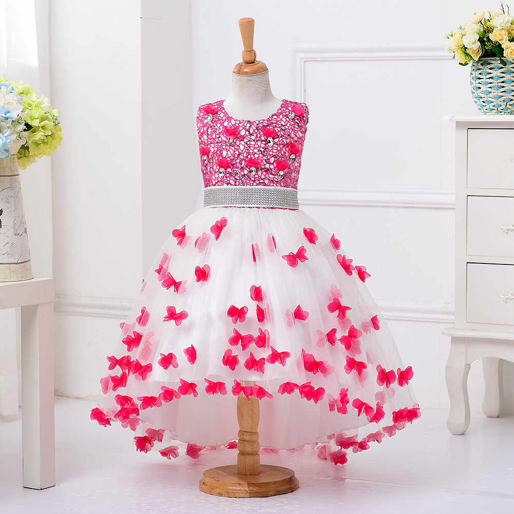 Christmas dress butter fly princess wedding birthday party evening kids dresses for girls age 3 4 5 6 7 8 9 10 11 12 13 14 years 2017 girls princess dresses kids bridesmaids clothes long dress children red prom dress for party and wedding 4 5 6 7 8 9 10 yrs