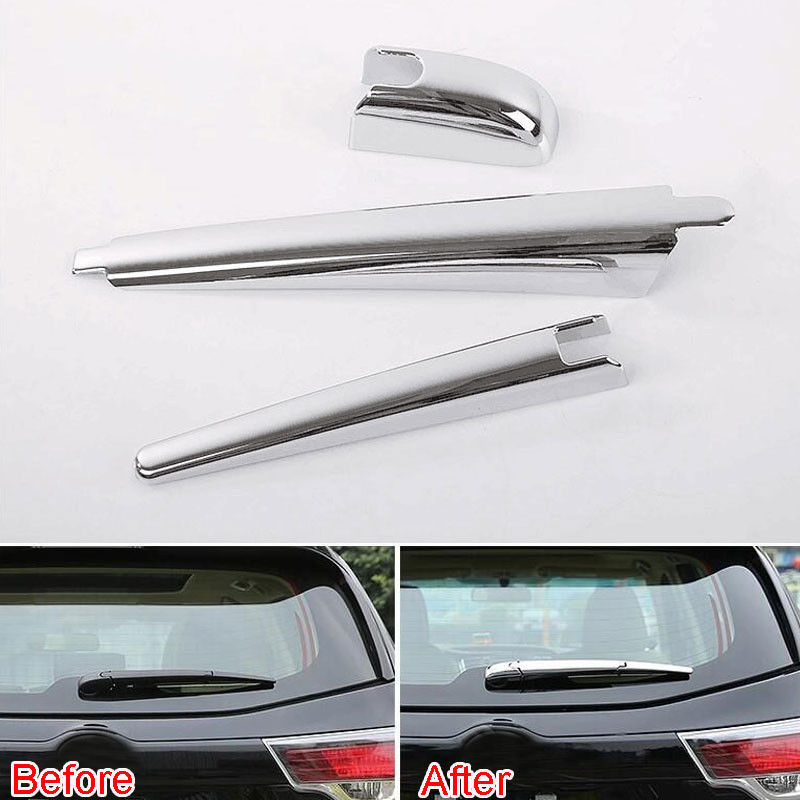 3x Auto Car Styling Exterior Rear Tail Window Windshield Wiper Nozzle Cover Trim Moulding Sticker Fit For Toyota Highlander 2015
