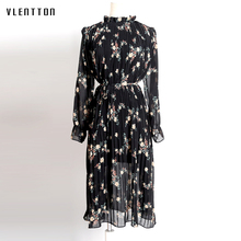 Summer Chiffon Dresses Office Print Vintage Women Dress 2019 New Casual Black White Midi Floral Female