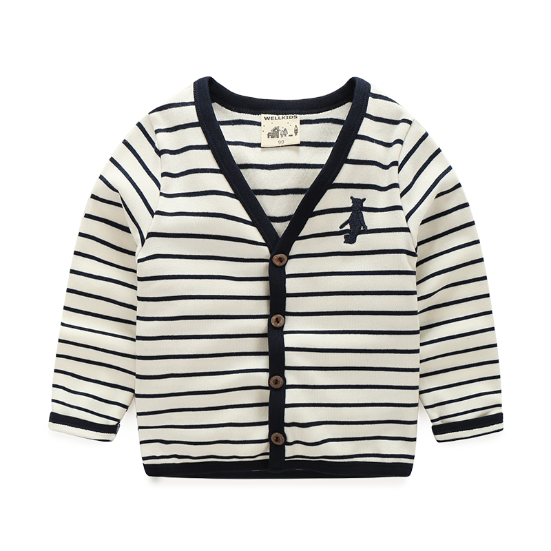 df89efd7a Fashion stripe kids boys cardigans sweater V neck baby long sleeve ...