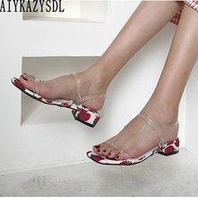 AIYKAZYSDL/женские босоножки в богемном стиле с клубничным принтом; босоножки на низком каблуке; прозрачная обувь на толстом квадратном каблуке с ремешком на щиколотке
