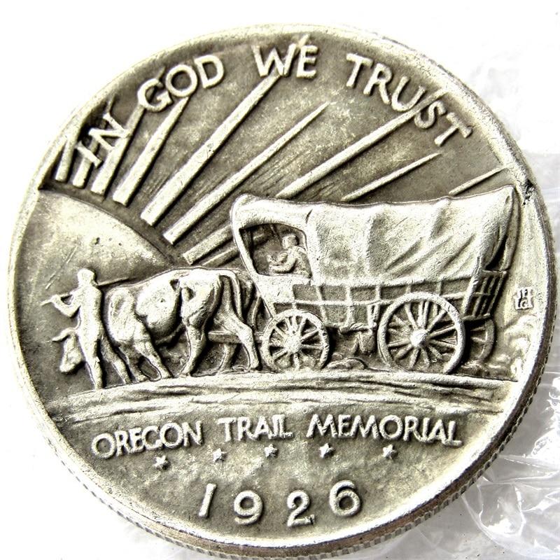USA 1926 S Oregon Trail Memorial Half Dollar Copy Coins Silver Plated