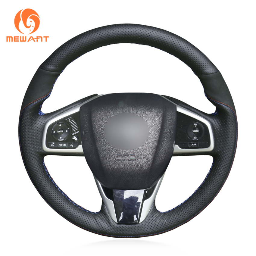 MEWANT Black Suede Genuine Leather Hand Sew Steering Wheel Cover for Honda Civic Civic 10 2016
