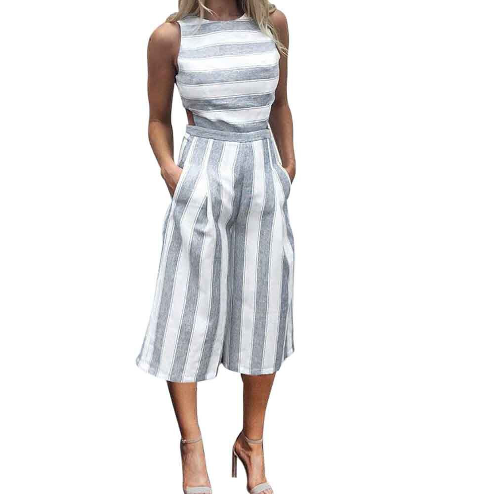 Women Sleeveless Striped Jumpsuit Casual Clubwear Wide Leg Pants Outfit Hollow Out Casual Sleeveless Striped Jumpsuits
